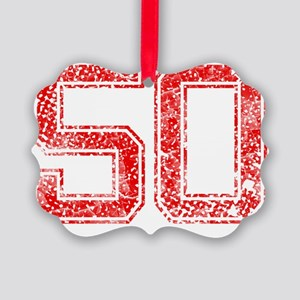 50, Red, Vintage Picture Ornament