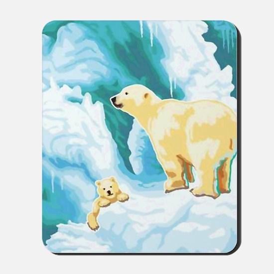 Mama and Cub Polar Bear Mousepad