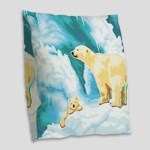 Mama and Cub Polar Bear Burlap Throw Pillow