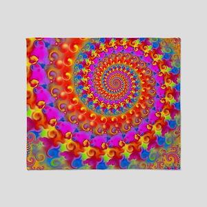Psychedelic Pink Fractal Art Throw Blanket