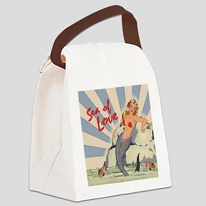 Mermaid Sea of Love Canvas Lunch Bag