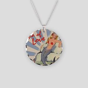 Mermaid Sea of Love Necklace Circle Charm