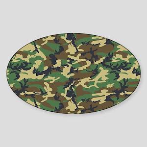 Woodland Camo Sticker (Oval)