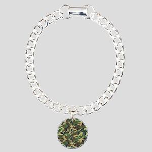 Woodland Camo Charm Bracelet, One Charm