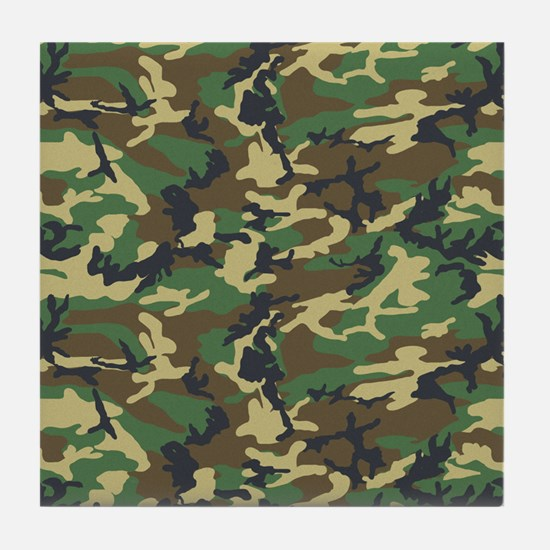 Woodland Camo Tile Coaster