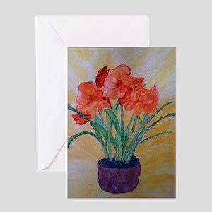 orange amaryllis Greeting Card