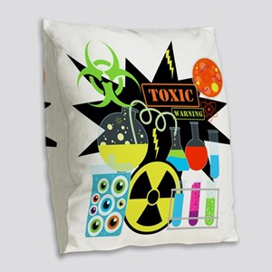 Mad Scientist Burlap Throw Pillow