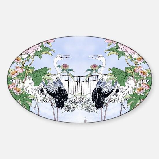 PILLOW CASE horiz-Cranes-Peonie  Sticker (Oval)