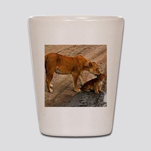 Lioness and cub Shot Glass