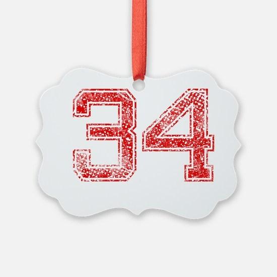 34, Red, Vintage Ornament