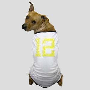 12, Yellow, Vintage Dog T-Shirt