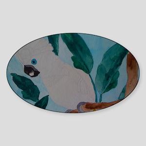 white umbrella cockatoo Sticker (Oval)