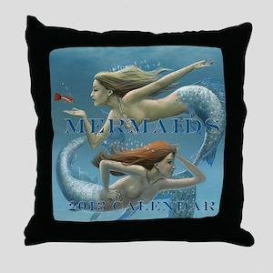 Mermaids Calendar 2013 uncovered Throw Pillow
