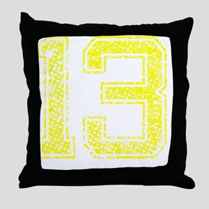 13, Yellow, Vintage Throw Pillow