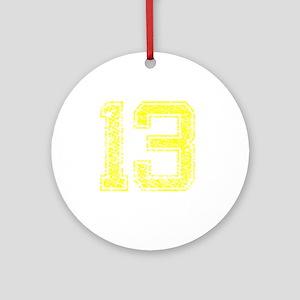 13, Yellow, Vintage Round Ornament