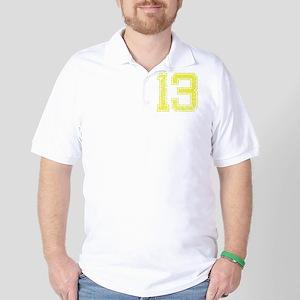13, Yellow, Vintage Golf Shirt