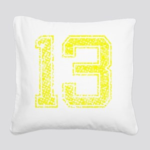13, Yellow, Vintage Square Canvas Pillow