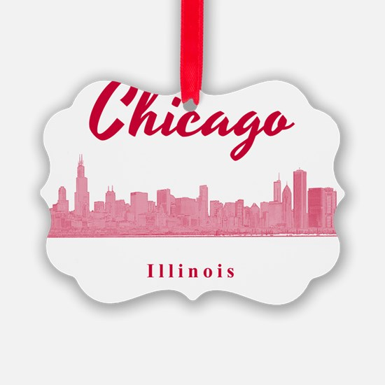 Chicago_12x12_Skyline_Red Ornament