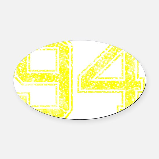 94, Yellow, Vintage Oval Car Magnet