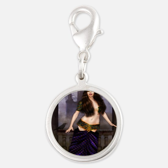 The Vampire Countess Silver Round Charm
