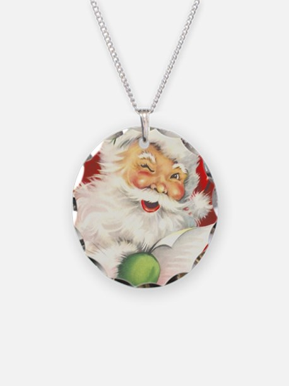 Santa Vintage Necklace Circle Charm