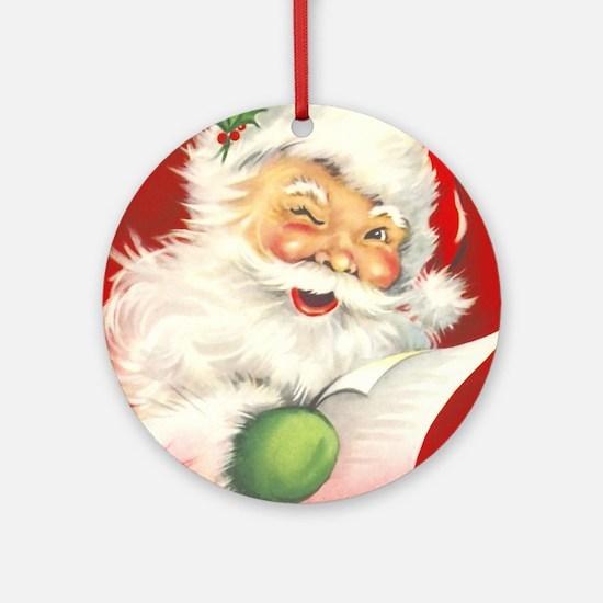 Santa Vintage Round Ornament