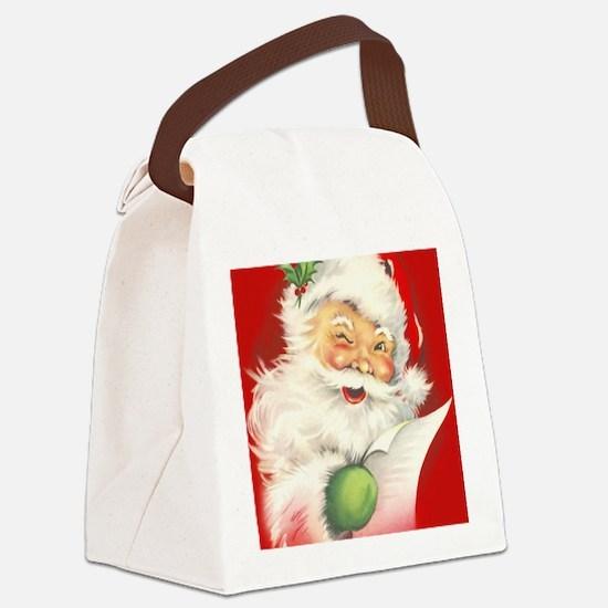 Santa Vintage Canvas Lunch Bag