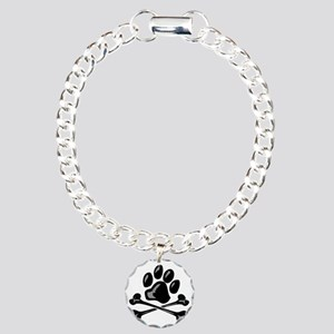 paw and crossbones Charm Bracelet, One Charm