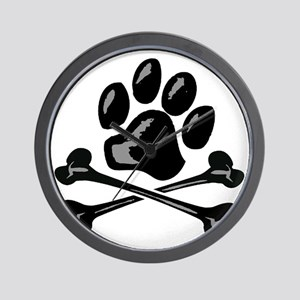 paw and crossbones Wall Clock