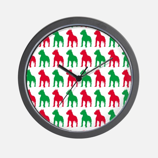 Pitbull Christmas or Holiday Silhouette Wall Clock