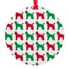 Poodle Christmas or Holiday Silhoue Round Ornament