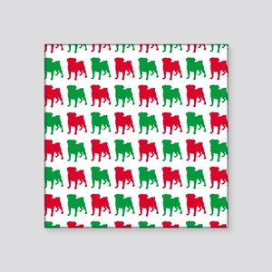 """Pug Christmas or Holiday Si Square Sticker 3"""" x 3"""""""