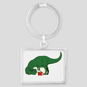 T-rex hates presents Landscape Keychain