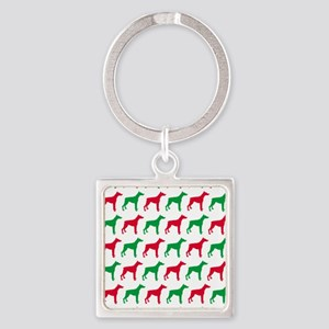 Doberman Christmas or Holiday Silh Square Keychain