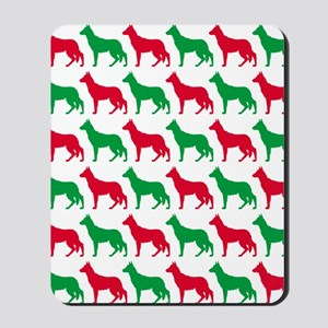 German Shepard Christmas or Holiday Silh Mousepad