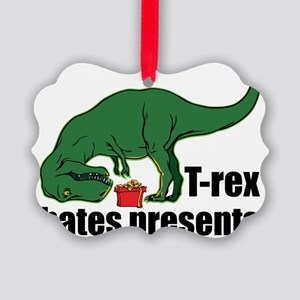 T-rex hates presents Picture Ornament