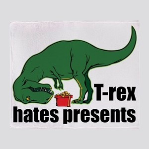 T-rex hates presents Throw Blanket