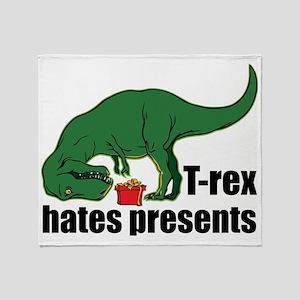 T-rex hates presents Throw Blanket