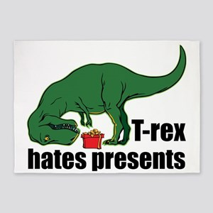 T-rex hates presents 5'x7'Area Rug