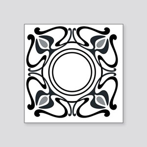 "Art Nouveau Pillow Black-Re Square Sticker 3"" x 3"""
