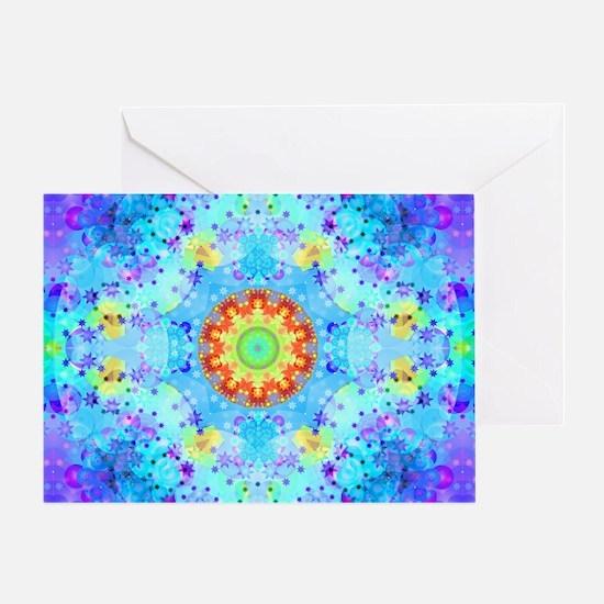 Turquoise Fractal Art Mandala Greeting Card
