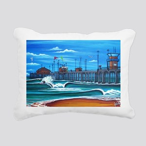 Huntington Beach Pier CI Rectangular Canvas Pillow