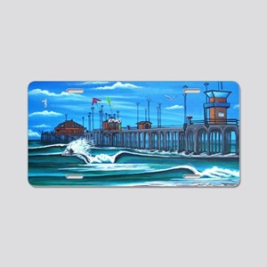 Huntington Beach Pier CIrca Aluminum License Plate