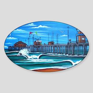 Huntington Beach Pier CIrca 1983 Sticker (Oval)