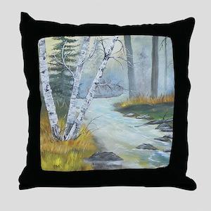 birch_shower_curtain Throw Pillow