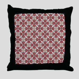 Elegant Oriental Red Damask Pattern Throw Pillow