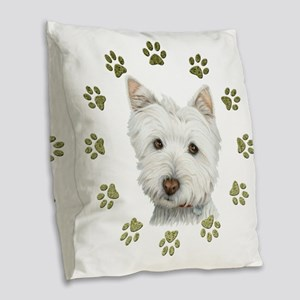 West Highland White and Paws A Burlap Throw Pillow