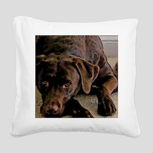 chocolate lab Square Canvas Pillow