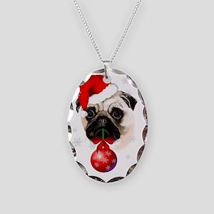 A Very Merry Christmas Pug Necklace Oval Charm