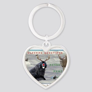 Rudolph Newfy and Wildlife Friends Heart Keychain